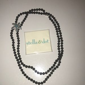 STELLA & DOT black beaded necklace with brooch